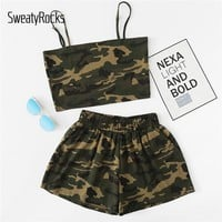 SweatyRocks Camo Cami Top With Shorts 2018 Summer Women Spaghetti Strap 2 Piece Army Green Sleeveless Casual Two Piece Set