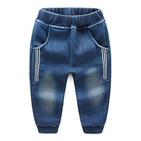 Boys Jeans Stripe 2018 Autumn Winter Children Black Blue Jeans Thickening Fashion Warm Long Trousers Jeans Casual Stripe Jeans