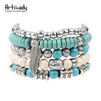 Artilady new buddha beads 5pcs set bracelets boho turquoise bracelet set for statement women jewelry party gift