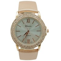 Delicate 2 Row Crystal Roman Numeral Watch - Rose