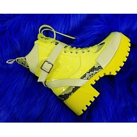 Jeepers Bright Yellow Patent Lug Sole Combat Ankle Boots 6-11
