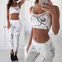 Fashion Casual Print Gauze Stitching Sleeveless Vest Set Two-Piece Yoga Sportswear
