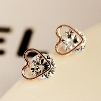 Gold Heart Trim on Rhinestone Earrings - LilyFair Jewelry