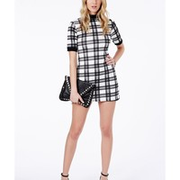 Missguided - Chloe Checked Collared Monochrome Shift Dress
