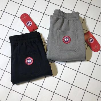 """""""Canada Goose"""" Unisex Simple Casual Logo Embroidery Thickened Sweatpants Couple Leisure Pants Trousers"""