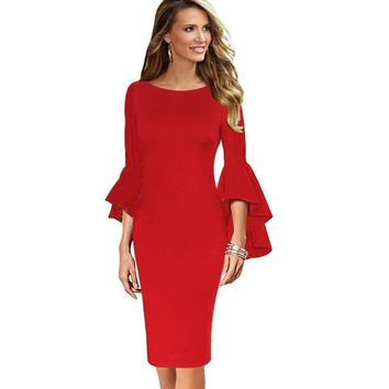 Autumn Women Elegant Long Flare Bell Sleeve Fashion Vintage Pinup Formal Party Cocktail Bodycon Pencil Sheath Dress 8350 designer clothes