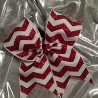 Cheer Bow   Chevron Glitter Flake by KrisKrossBows on Etsy