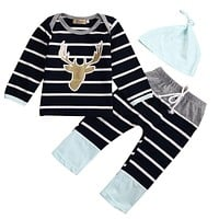 Toddler Baby Boys Deer Tops+ Long Pants+Hat Clothes Outfits Gentleman 3pcs/Set H16
