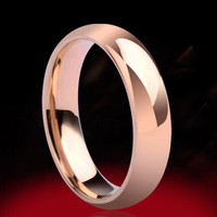 Men and Women 18K Rose Gold Plated High Polish Wedding band Classic lovers rings