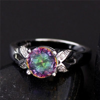 1PC 925 Sterling Silver Multicolor Cubic Zirconia CZ Women's Party Finger Ring US SIZE = 1945792452