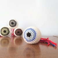 Eyeball Amigurumi Plushy - Zombie Plush - Halloween Party Favor - Anatomy Gift - Crocheted Eye Plush - Nerdy Science Plush - Geekery