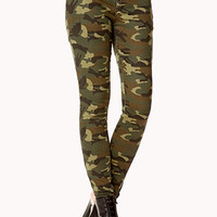 Zippered Camo Skinny Jean