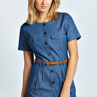Marit Short Sleeved Button Front Denim Playsuit