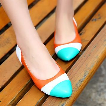 Pointed Toe Women Flats Patchwork Ballet Shoes