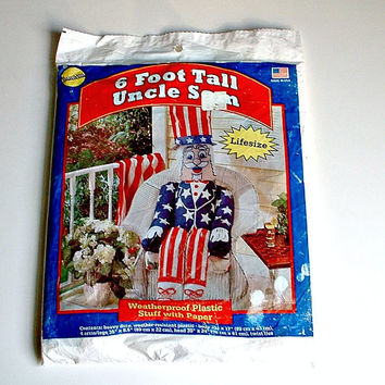 Uncle Sam Lifesize 6 Foot Tall Weatherproof Plastic Body  Stuff With Paper Vintage Patriotic Decor New Old Stock Porch Sitter 4th of July