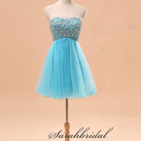 Sexy Short Prom Party Mini Gowns Blue Evening Club Cocktail Ball Dresses Wedding