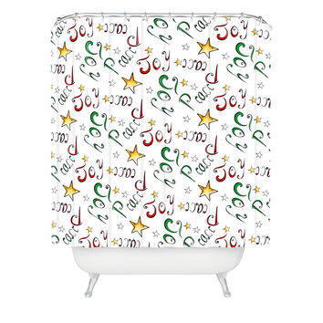 DENY Designs Madart Inc Peace and Joy Pattern Woven Polyester Shower Curtain