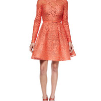 Elie Saab Long-Sleeve Belted Lace Fit-And-Flare Dress, Coral Reef