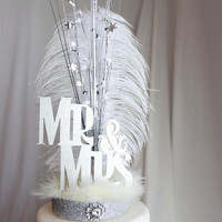 Mr. & Mrs. Gatsby silver and white feather cake topper