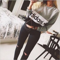 """Gray """"Adidas"""" Letter Winter Long Long Sleeve Sweater"""