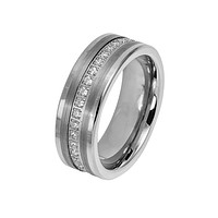 The CEO - Men's Brushed Center Round Cut CZ Eternity Tungsten Ring