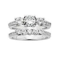 Forever Brilliant Lab-Created Moissanite 3-Stone Engagement Ring Set in 14k White Gold (1 5/8 Carat T.W.)