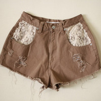 Recontructed Vintage High Waist Boho Lace Trim Short Shorts size S/M from R+E
