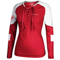 Detroit Red Wings Reebok Women's Lace-Up Long Sleeve Hockey Top – Red/White