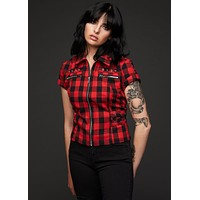 Rebel Yell Checkered Short Sleeve Zippered and Studded Shirt