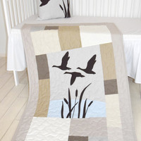Duck Baby Quilt Hunting Theme Crib Bedding,  Hunter Nursery, Woodland Crib Bedding for Baby Boy, Forest Blanket,  gray, cream, beige, brown