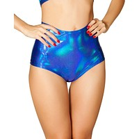 Blue Holographic High-Waist Rave Booty Shorts