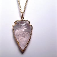 Crystal Quartz Necklace - Arrowhead Necklace - Spear With 24k Gold Edging