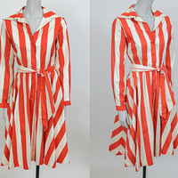 Vintage 80s Dress / 1980s Red and Beige Striped Cotton Full Skirt Midi Shirt Dress S M
