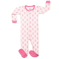 Leveret Cotton Infant Girls Footed Pajamas