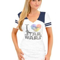True Vintage I Heart Love Star Wars Juniors Burnout White and Navy T-shirt with Striped Sleeves - Star Wars -   TV Store Online