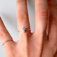 Tiny Sterling Silver Lotus Flower Stackign Ring - custom made to order