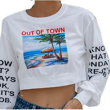 New hot sale printed round neck loose wild long-sleeved sweater