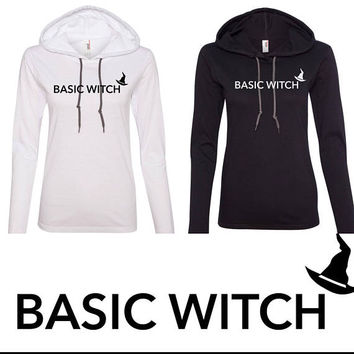 Basic White  ladies or unisex fit hooded Tee - halloween - funny - black or white - bff shirts - costume tshirt
