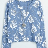 Floral Print Cropped Tee - OASAP.com