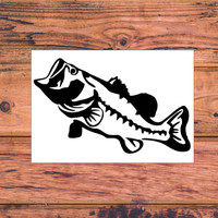Bass Fishing Decal | Country Fishing Decal | Country Girl Decal | Car Decal | Truck Decal | Bass Monogram Decal | 258