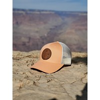 LPG Apparel Co. Crossed Gaff & Surfboard Surf. Fish. Dive. Signature Leather Patch Baseball Hat Col. Peach
