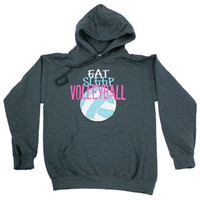 Eat Sleep Volleyball Hoodie - Charcoal Gray - Lucky Dog Volleyball