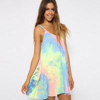 Strappy V-NeckTie Dyed Irregular A-Line Mini Dress