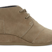 Taupe Suede Youth Desert Wedges US