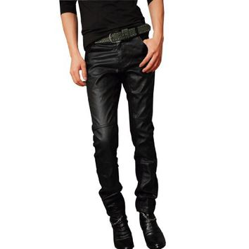 Men Stylish Zip Fly Button Closure Faux Leather Splicing Pants