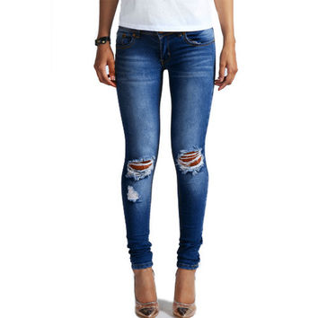 1884 New 2016 Hot Fashion Ladies Cotton Denim Pants Stretch Womens Bleach Ripped Knee Skinny Jeans Denim Jeans For Female