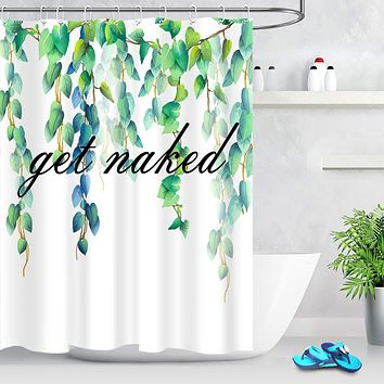 LB Watercolor Blue Green Leaves Get Naked Shower Curtain Black Words White Background Funny Girls Bathroom Curtain 72x72 Inch Waterproof Fabric with 12 Hooks 72Wx72L