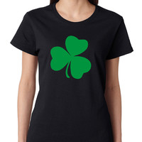 Women's T Shirt Green Shamrock Graphic St Patrick's Day Tee