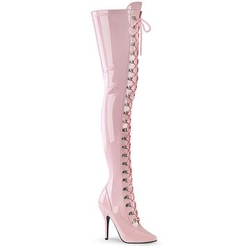 """Seduce 3024 Lace Up Pointy Toe Thigh Boot Baby Pink Patent 5"""" High Heel"""