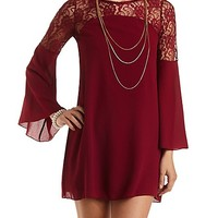 Lace Yoke Bell Sleeve Shift Dress by Charlotte Russe - Wine